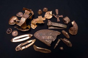 Some of the gold artifacts from the Staffordshire hoard