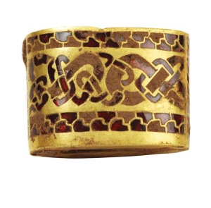 Lavishly decorated gold piece from the Staffordshire hoard