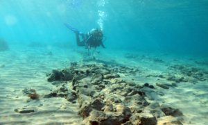 Scientists explore underwater ruins of a sunken city off the Greek coast.